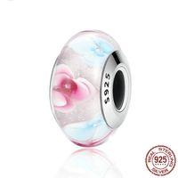 S925 Sterling Silver Pandora Style Charm Bracelet Braccialetto Amore Pink Glass Crystal FAI DA TE perline per braccialetti di design gioielli