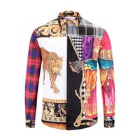 Plaid and printing a leopards Men' s Loose long sleeve s...