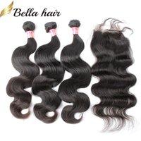 Bella Haar Rohboden indische Menschenhaar-Webart natürliche Farben-Körper-Wellen-Haar-Bundles mit Spitze Verschluss-freies Verschiffen