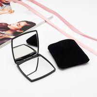 Mini Preto Dobrável Compacto Espelho Portátil bolso Make up espelhos Ferramenta cosmética LOGOTIPO Personalizado Frete grátis