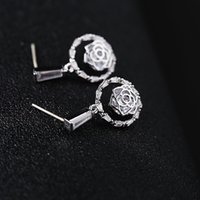 2019 New Designer Earrings Round Rose Flower Sarring s925 Si...