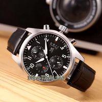 رخيصة جديدة الطيار Montre d'Aviateur IW371701 الأسود الهاتفي التلقائية للرجال ووتش تاريخ 43MM حزام جلد رجل رياضة ساعات رجالية hello_watch