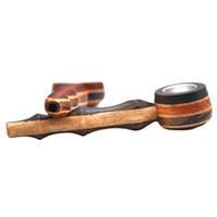 Recém-chegada creative fumar tubo de alta qualidade tubos de fumo de madeira portátil tubos de tabaco tubos de erva cor aleatória