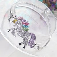 Kids and Women Bracelet colorful unicorn Rhinestones Adjusta...