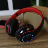 1 Stück! Angeführt Atem Licht Bluetooth-Kopfhörer mit faltbarem Bügeln beweglichen drahtlosen Kopfhörer-Unterstützungs-TF-Karte mit Kleinkasten