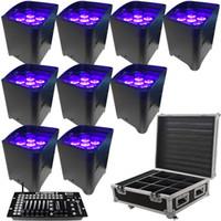 10PCS التطبيقات السيطرة uplighting عرافة 6 * 18W 6in1 RGABW UV LED البطارية العارض LED أضواء الاسمية لحفل الزفاف مع غطاء المطر