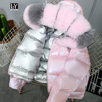 Ly Varey Lin Real Fur Coat Natural  Fur Collar Winter Jacket Women 90% White Duck Down Double Sided Hooded Waterproof Parkas