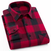 Ekose Gömlek 2019 Yeni Sonbahar Kış Flanel Kırmızı Kareli Gömlek Erkek Gömlek Uzun Kollu Chemise Homme Pamuk Erkek Onay Gömlek