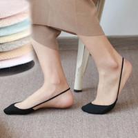 10 pares Sell Mulheres Meninas Low Cut Sling Sock Cotton meio pés antiderrapante invisível Sock chinelos cor sólida
