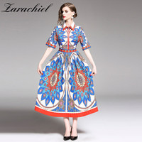 2019 Summer Runway Shirt a pieghe abito donna manica corta Turn Down Collar Vintage Retro stampa casual OL Slim Party Long Dress