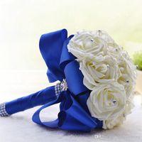 Ramos de novia calientes Rose para bodas con perlas artificiales Rhinestones Ribbon Fancy Hecho a mano Bouquets de boda artificiales # DB-B002