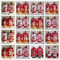 Vintage CCM CCM Calgary Flames 12 Jarome Iginla Jersey Hokeyi Dikişli 2 Al Macinnis 9 Lanny McDonald 10 Gary Roberts 14 Theoren Fleury Formalar