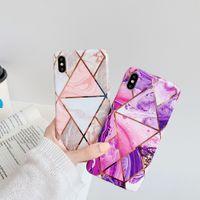 Degrade Gümüş Elektrolizle mermer Kılıf iphone X XS Max XR 6 6 S 7 8 Artı Renkli Parlak Yumuşak Silikon Telefon Kılıfı