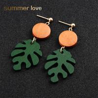 Nytt mode bohemen grönt blad dangle trä örhänge för kvinnor elegant sommar strand örhängen fest smycken