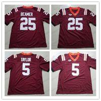 Virginia Tech Hokies 5 Tyrod Taylor 25 Frank Beamer Mens Juventude NCAA College Football costurados camisas vermelhas frete grátis