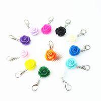 Yüzer Lockets Boncuk Takı Mix 12 Farklı Renk Aksesuar 120pcs / lot için Gül Çiçek Dangle Charms Istakoz Kapat kolye Charms