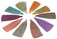10pc / lot 13CM fait main cordon en coton tissé pic pompon coloré suspendu oreille accessoires bracelet bricolage outil Bijou Composants D047