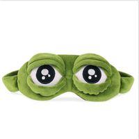 Yeni Yeşil Kurbağa Karikatür Sevimli Göz Kapağı Sad 3D Göz Kapağı istirahat Uyku Anime Komik Hediye göz maskesi uyku Uyuyan Maske