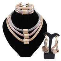 Afrikanische Goldschmuck Sets für Frauen Klassische Kristall Halskette Armband Ohrringe Ring Hochzeitsfest Schmuck Sets für Braut