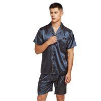 Tonycandice Satin Silk Pajamas Шорты для мужчин Район Шелковые Пижамы Летние Мужской Pajama Набор Мягкая ночная рубашка для мужчин Pajamas