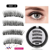 4pcs 3D Magnetic False Eyelashes Four Magnets Eye Lashes Nat...