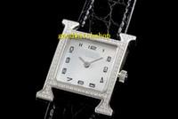Top H Luxury женские часы Алмазный Женщина Часы швейцарские кварцевые перламутровый циферблат сапфировое стекло ремешок из кожи аллигатора
