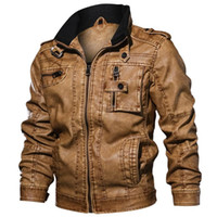 Artı Boyut PU Sonbahar Kış Bombacı Temel Ceketler Erkekler Moda Erkek Ceket ve Coats Kalınlaşmak Casual WINDBREAKER Sahte Deri 7XL