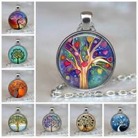 Baum des Lebens Anhänger Ketten Glascabochon Opulente Halskette Schmuck Weinlese-Ketten-Hals Paar Punk Schmuck-Geschenk für Frauen Männer