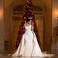 2019 Elegant Beaded Lace Wedding Dresses With Detachable Train Off Shoulder Mermaid Bridal Gowns Applique Ivory Satin Wedding Dress