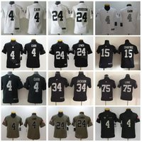0381289d2 Oakland Football Jersey Youth Raiders Jerseys 4 Derek Carr 24 Marshawn  Lynch 34 Bo Jackson 75 Howie Long Kids Children Black White
