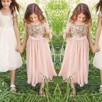 Partido de las muchachas de oro rosa de las lentejuelas vestidos de flores hecha a mano marco de la flor de la joya de longitud de té de tul una línea formal de los niños vestido de primera comunión
