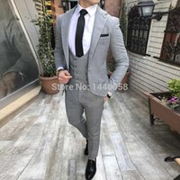 Cheap And Fine Notch Lapel Grey One Button Groom Tuxedos Men...