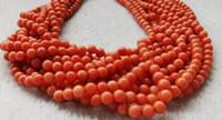 véritable rare perles ronde lisse corail rouge pierres précieuses pierre naturelle de la 16inch
