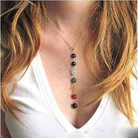 7 Chakra Perlen-hängende Halskette mit echten Steinen - Mala Y-förmige Kettenhalsketten -Reiki Chakra Healing Energieperlen Yoga Halskette DHL-freies
