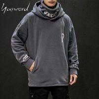 Yasword Men Hoodie Casual Autumn Loose Hooded Long Sleeve Sweatshirts Fleece Pullover Male Tops Patchwork Hiphop Streetwear