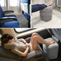 1PC Şişme Taşınabilir Seyahat Footrest Yastık Düzlem Tren Araba Yetişkin Çocuk Yatak Footrest Pad Yastıklar Gri Çanta olmadan