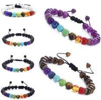 7 chakra lava heilung balance perlen charme armbänder multicolor perlen steine weben seil armband frauen männer yoga armbänder