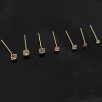 100% 925 Sterling Zilveren Neus Stud Clear Crystal Gold Piercing Neus Sieraden 36PCS / Pack