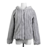 2018 Invierno Espesar Cálido Abrigo de manga larga con capucha de piel artificial Mujer Suave Faux Fur Outwear
