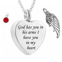 Deus tem você em seus braços com Angel Wing Charme Cremação Jóias Keepsake Memorial Urn Colar com Crystal Birthstone