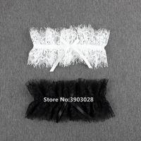 Sexy Frauen Wimpern Lace-Kragen Strumpfgürtel Brauthochzeits-Mädchen-elastische Strumpfband mit Band-Bogen-Ausschnitt Leg Ring-Rollen