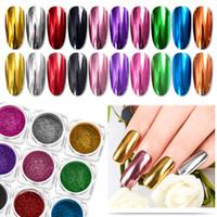 Nagel-Spiegel Glitter Puder Metallic-Farben-Nagel-Kunst-UVgel Polieren Chrom Flakes Pigment Staub Dekorationen Maniküre