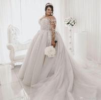 2020 Vintage Plus Size Suknie ślubne Sheer Jewel Neck Lace Aplikacja Sweep Pociąg Boho Suknie Ślubne Czeski Długa Bridal Sukienka