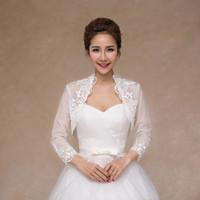 Novos casacos de casamento macio laço applique elegante manga longa bolero acessórios de casamento feminino nupcial envolve xales