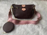 3 개 / 세트 좋아하는 멀티 포켓 액세서리 핸드백 지갑 정품 가죽 L 꽃 어깨 크로스 바디 가방 숙녀 지갑