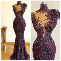 Aso Ebi 2020 Árabe Roxo Luxuoso Sereia Vestidos de Noite de Sereia Frisado Vestidos de Prom Vestidos de Pescoço Formal Segundo Vestidos de Recepção ZJ553