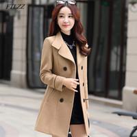 FTLZZ Mezcla de lana para mujer Abrigo largo cálido Otoño Invierno Tallas grandes Mujer Slim Fit Solapa Abrigo de lana Cachemira Ropa de abrigo