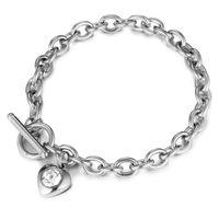 Neue Mode Edelstahl LIEBE Herz Kristall Ketten Charme Armband Für Frauen Valentinstag Weibliche Armband Armreif