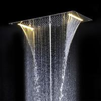 2020 neue Art-Duschkopf LED Decken Quadratisch Drauf 700x380mm Badezimmer Stystem Regen Wasserfall Blase Mist DA5422