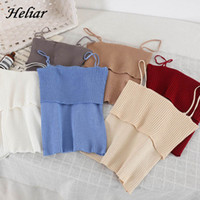 HELIAR Knitting Spaghetti Pleated Camis Korean Style Camisol...